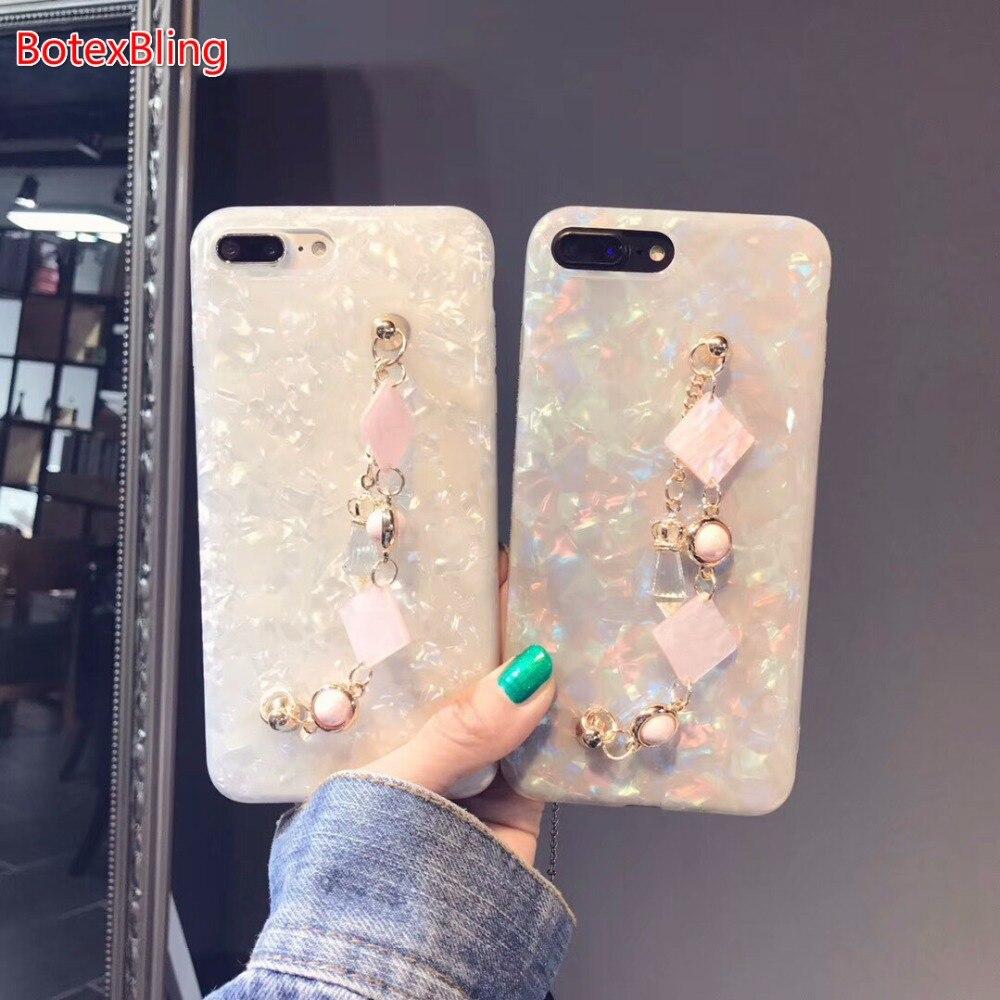 BotexBling mármol de lujo brillo pulsera cadena para iphone XS MAX Caso 8 8 más 7 7 más 6 s más 6 más para iphone X XR