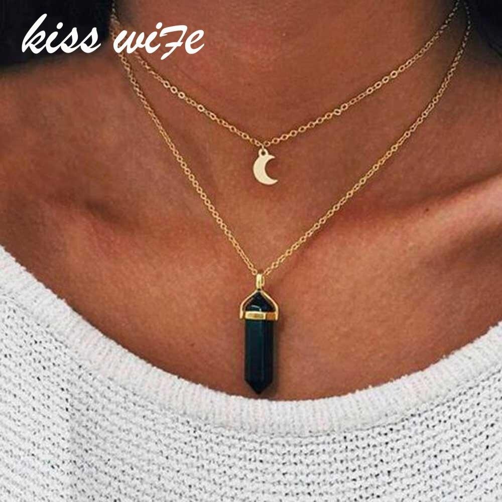 Поцелуй жена 1pcnatural Камень Луна колье ожерелье Мода цвет золотистый кристалл кулон ожерелье для женщин