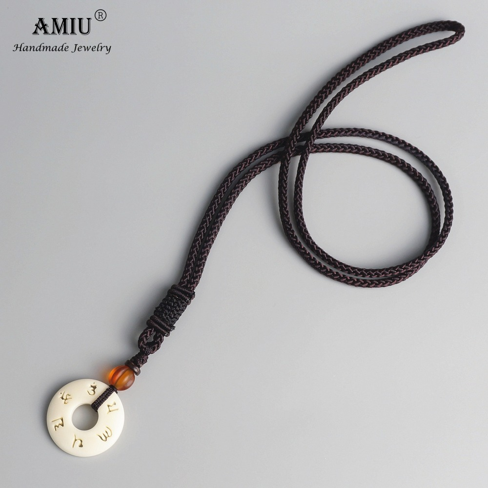 AMIU Tibetan Buddhist Handmade Simple Rope Chain With OM Mantra Sign Tagua Nut Pendant Necklace Buddhism Amulet Necklace(China)