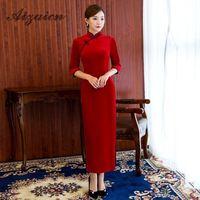 Velvet Cheongsam China Evening Dresses Long Sleeve Qipao Red Women Traditional Chinese New Year Costume Cheongsams Elasticity