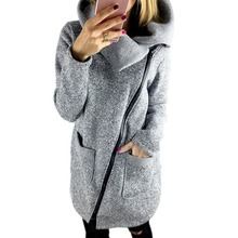 Women coat winter blazer coat woman Inclined Zipper long jacket ladies lapels solid color long sleeve slim fit outrwear