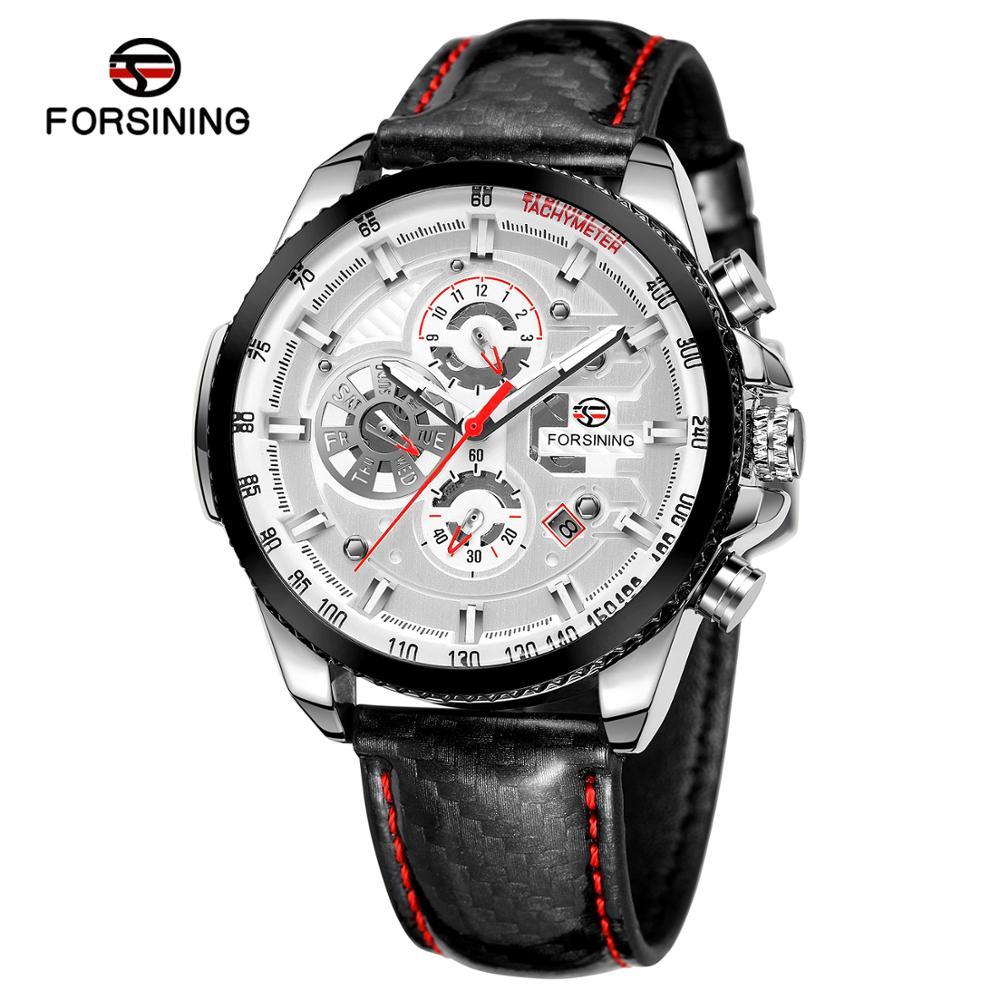 Forsining Three Dial Calendar Display Black Men Automatic Leather strap Wrist Watch Top Brand Luxury Military Sport Male Clock