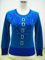 100 Cashmere Sweater O Neck Jewelry Blue Sweaters Women Fashion Pullover Natural Warm High Quality Clearance