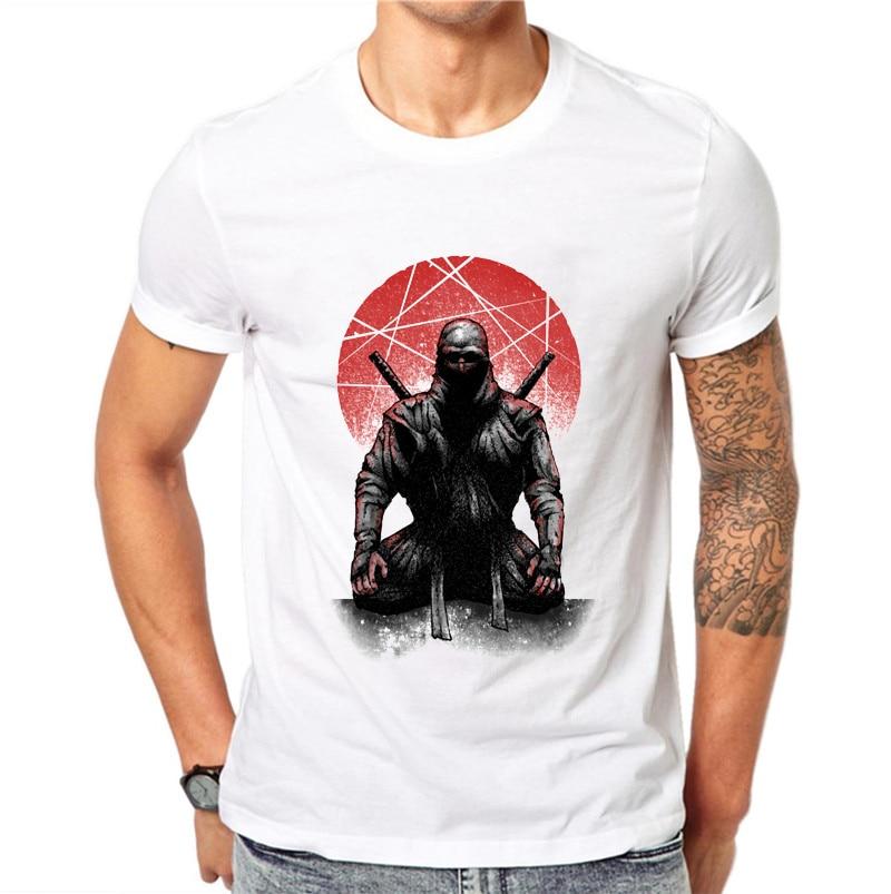 2018 Latest Samurai Print Men Black   T  -  shirt   Ninja Skull Helmet Vintage Blossom Pattern Paint Short Sleeve   T     Shirt