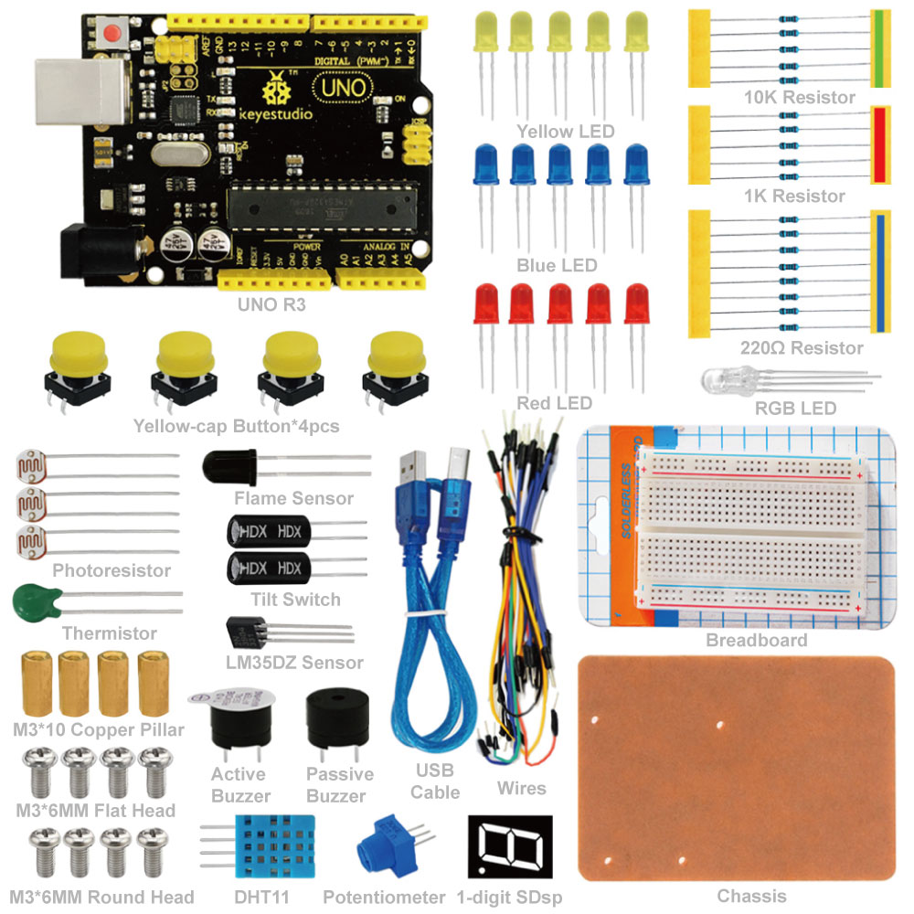 Keyestudio Uno R3 Breadboard Kit For Arduino Education Project With Dupont Wire+led+resistor+pdf Limpid In Sight Active Components Integrated Circuits Free Shipping