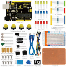 Free shipping! Keyestudio UNO R3 Breadboard kit for Arduino starter with dupont wire+LED+resistor+PDF