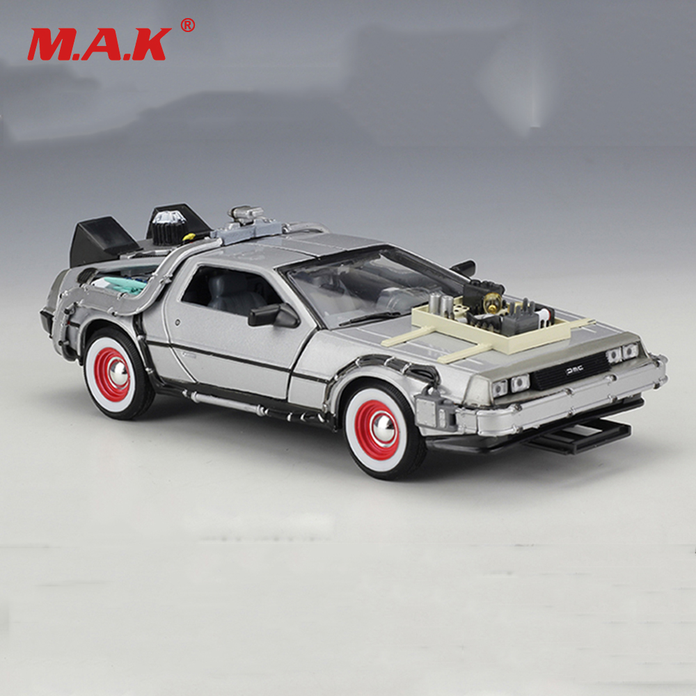 Cheap Kid Children Car Model Toys 1:24 Diecast Car Part 1 2 3 Time Machine DeLorean DMC-12 Model Welly Back To The Future Car ...