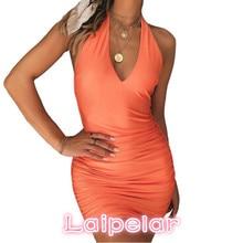 Sexy V Neck Halter Women Summer Dress Draped Slim Bodycon Bandage Female Beach Tunic Backless Party 2018 Laipelar
