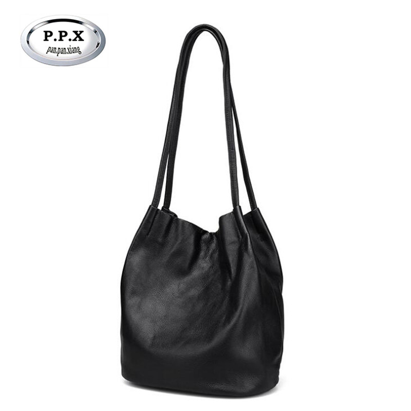 P.P.X Fashion Genuine Leather Female Bag New Women Bucket Bag High Quality Shoulder Bags Ladies Tote Handbag Shopper Bags M818