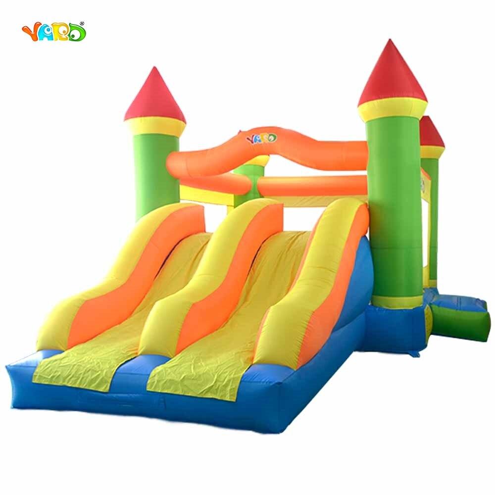 Двор надувной батут двойной слайды Дизайн с вентилятором для 8 детская большая комната надувной батут замок прыжки