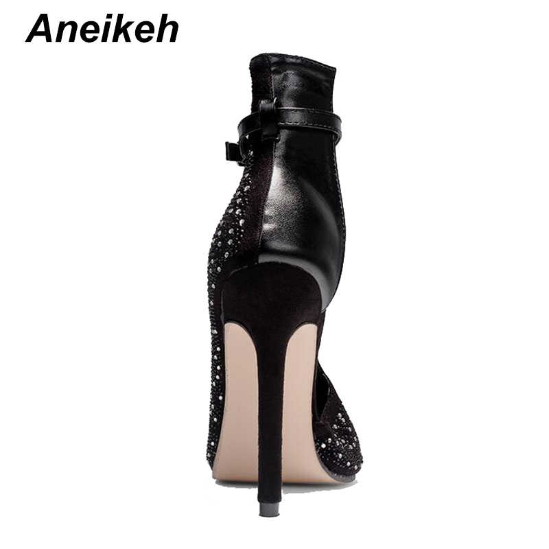 Aneikeh kristal kadın pompaları yüksek topuklu marka tasarım seksi gladyatör yüksek topuklu ayakkabılar kadın imitasyon toka kayış parti ayakkabıları 41 42 43