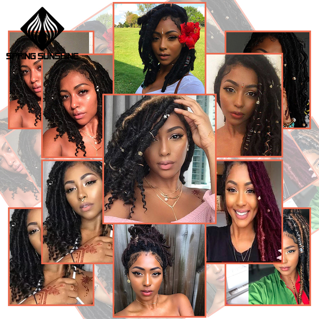 Spring sunshine 1-10PC Goddess Faux Locs 16 18inch Crochet Braids Soft Natural Kanekalon Synthetic Hair Extension 24Strands 1PC