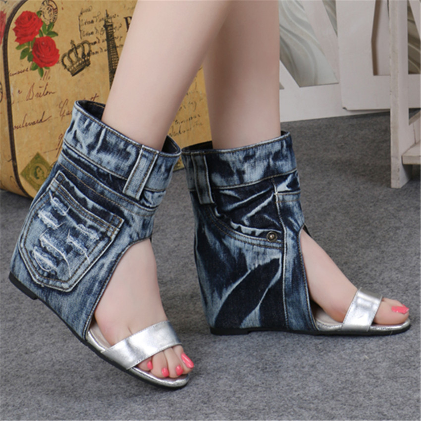 Fashion Women Summer Boots Denim Sandals Peep Toe Ankle Botas High Heels Gladiator Wedge Shoes Woman Height Increasing Wedges 2016 new arrive summer boots fashion peep toe thick high heels women boots cut outs platform shoes woman ankle boots for women