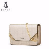FOXER Women Leather Flap Bag Ladies Small Shoulder Bags Lovely Candy Handbag Girls Clutch Chain Crossbody