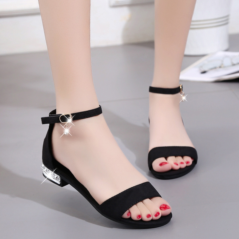 2019 female summer new style with Korean version of the tide word buckle with suede wild open toe thick with women's shoes(China)