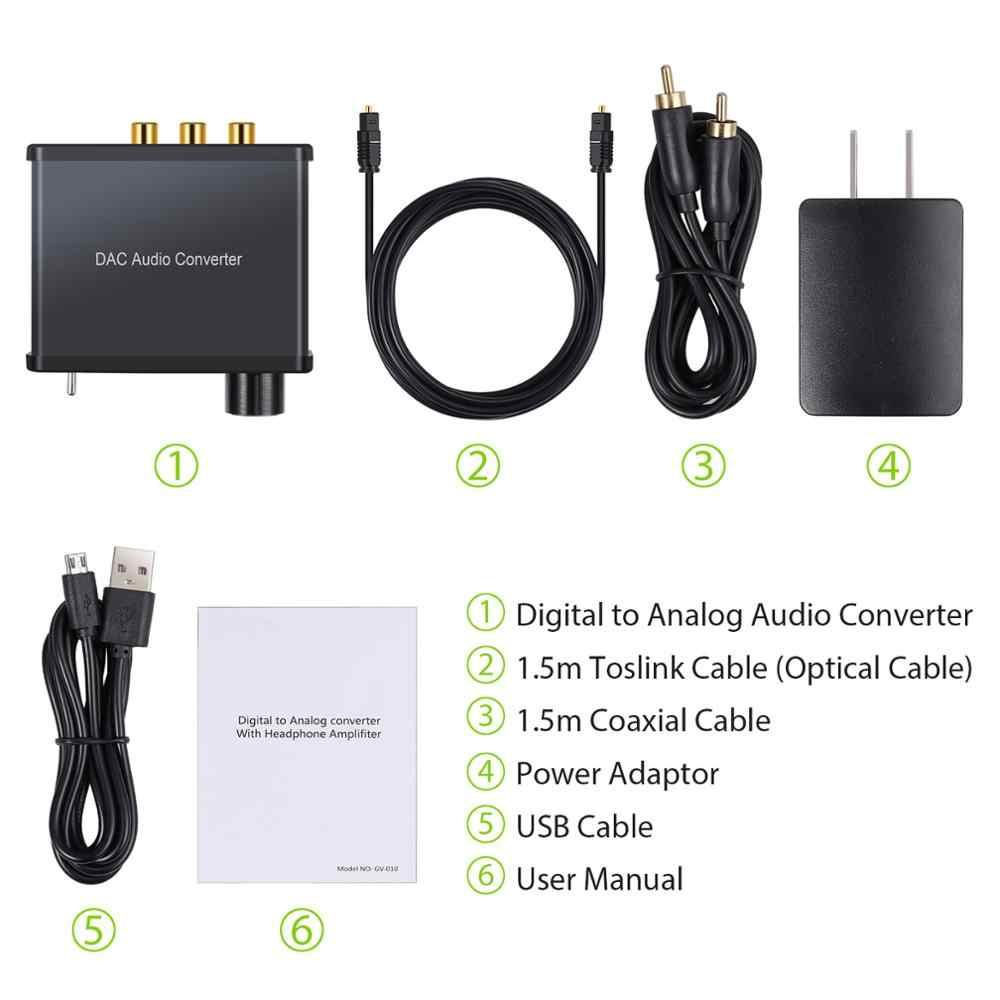 Proster 192 kHz cyfrowego na analogowy aduio konwerter + wzmacniacz słuchawkowy na/OFF DAC koncentryczny Stereo L/R RCA 3.5mm Adapter Audio