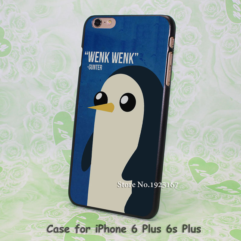 Adventure Time Gunter Quote Pattern hard black Case Cover for iPhone 4 4s 5 5s 5c 6 6s 6 Plus 6s Plus
