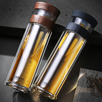 Chinese Tea Glass Bottle 400ml Double Wall Protect High Borosilicate Glass Drinking Office Water Bottle With Tea Filter With Bag