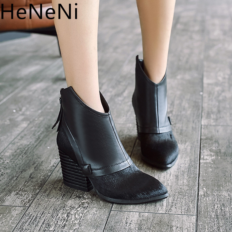 Genuine Leather horse hair Women Western boots Pointed Toe Thick Height Heels bota feminina Retro Cowboy Ankle Boots botas mujer