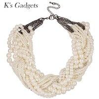 European And American Big Fashion Retro Exaggerated Multi Layer White Pearl Woven Necklace