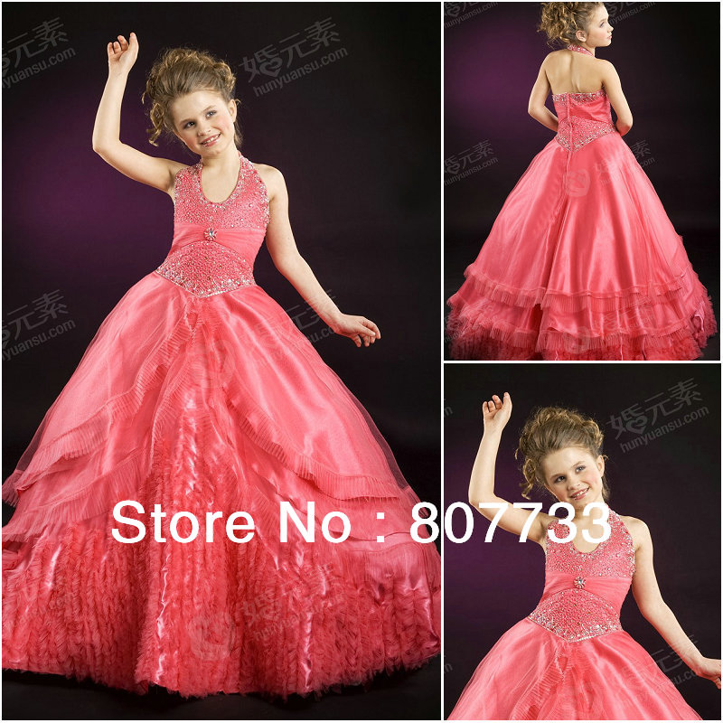 F2414 New halter design fabulous beaded puffy ball gown skirt kids ...