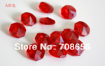 500pcs 14MM RED OCTAGON CRYSTAL GLASS BEADS FOR DIY GARLAND
