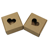 Brown White Square Kraft Paper Gift Boxes Packaging Heart Hollow Out Cardboard Carton For Wedding Party