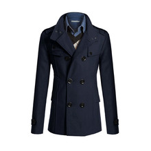 Casual Jackets Woolen Pea Coat Double Breasted Winter Wool Coat Slim Fit Jacket Windbreakers Trench Homme Plus Size