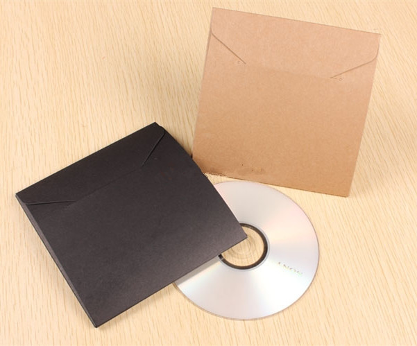 50pcs-13*13cm Blank Kraft Paper Black Peper CD Bags for Cover DVD Packaging Envelopes Wedding Party Favor Gift Bags