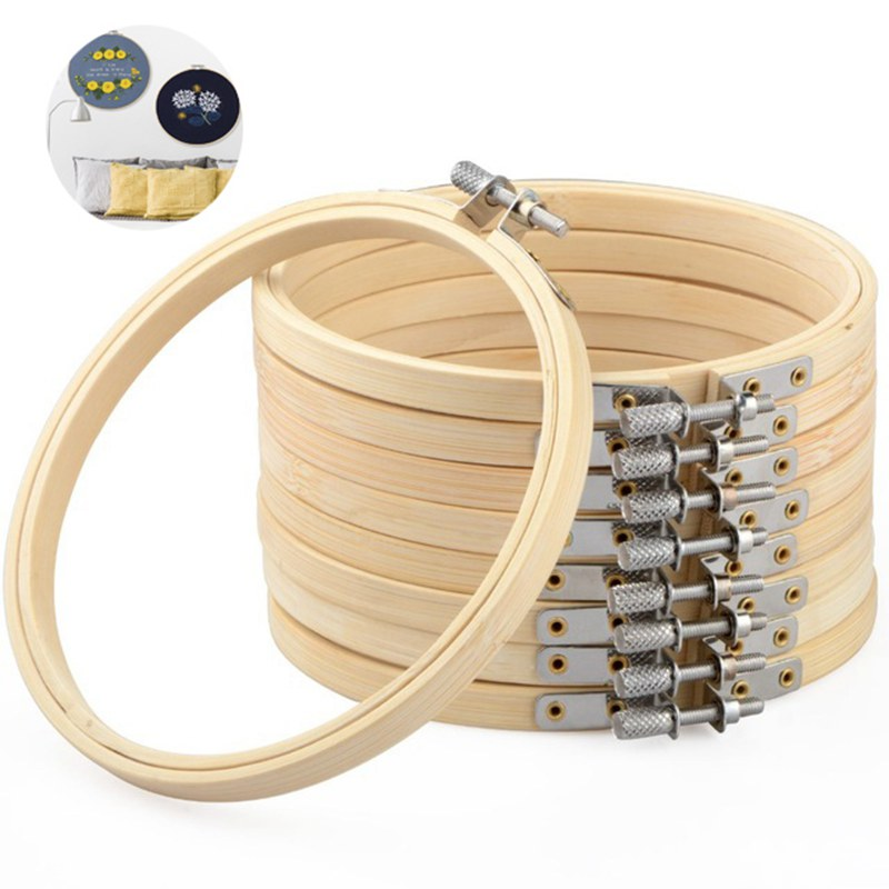 8-23cm DIY Embroidery Hoop Tool Art Craft Cross Stitch Chinese Traditional Circle Round Bamboo Frame Sewing Manual Accessories