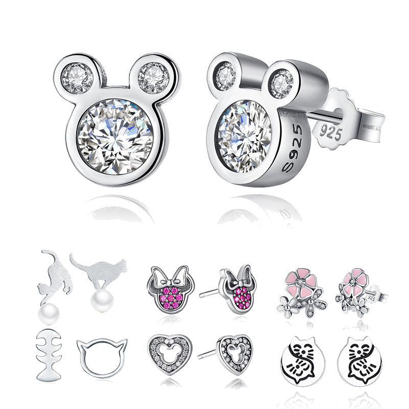 Wholesale 925 Sterling Silver Cartoon Mickey Animal Dolphin Cat Sparkling Minnie Sterling Silver Jewelry Women Stud Earrings creative 3d animal earrings cartoon cat kitten lovely ear stud earrings jewelry