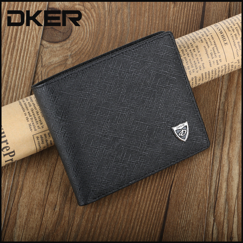 DKER Men's Leather Wallet Short Genuine Leather Purse For Men Famous Carteira Masculina D2021
