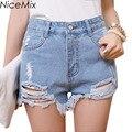 NiceMix Moda Casual Verão Shorts Mulheres Sexy Denim Shorts Azul Preto Branco De Cintura Alta Jeans Rasgados Pantalon Femme