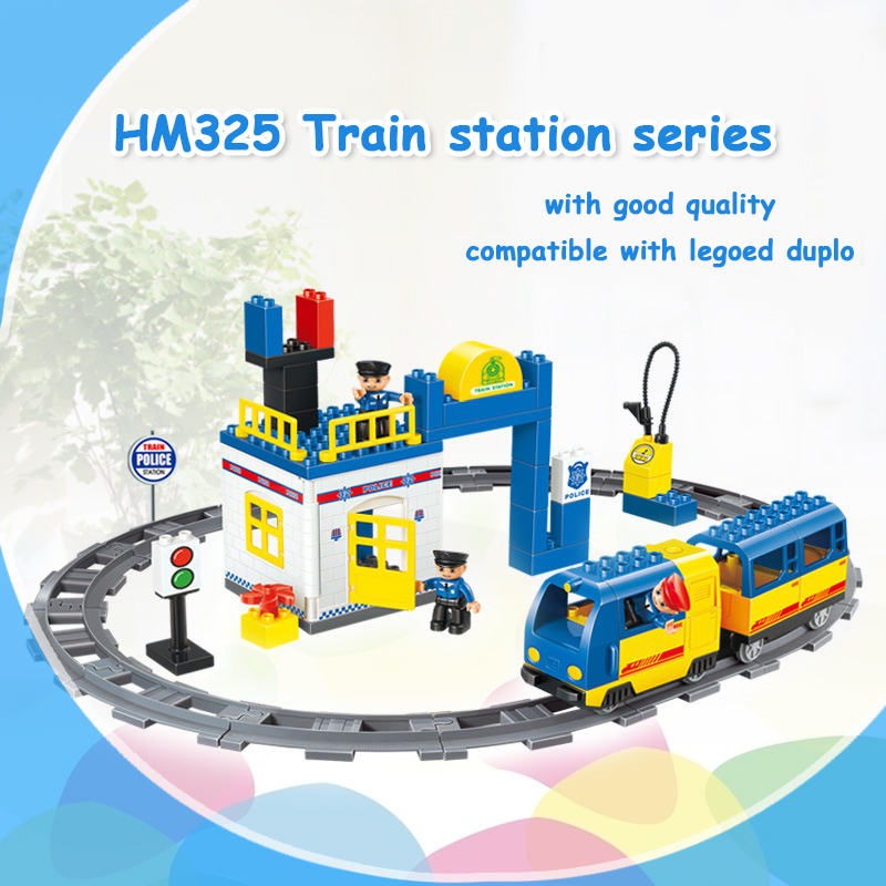 HM325 59PCS Train Station building blocks Baby Early Learning toys self-locking bricks educational toys compatible with dduplo ...