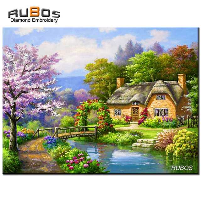 RUBOS Nature Green Village DIY 5D Full Diamond Embroidery