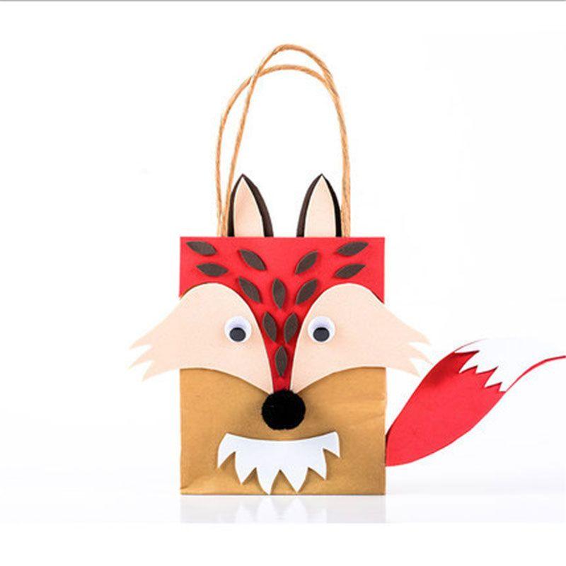Children DIY Handmade Toys Kids Cartoon Animal Bag Paper Bag For Kindergarden School Educational Toys