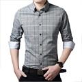 2016 Клетчатую Рубашку Мужчины Хлопка Случайные Футболки Slim Fit Человек Camisa Социальная Мода Бизнес Случайный Сорочка Homme Офис Белые Рубашки