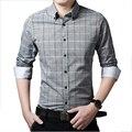 2016 Hombres de la Camisa de Algodón A Cuadros Camisas Casuales Slim Fit Hombre Fashion Business Casual Camisa Sociales Chemise Homme Oficina Camisas Blancas