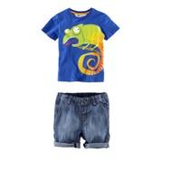 2017 Nieuwe ontwerp zomer nieuwe kinderen cartoon gedrukt katoenen kleding mode baby jongens t-shirt + jeans 2 stks set jongen casual kleding