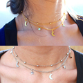 Super fashion multilayer simple gold silver plated double chain turquoise beads collar moon star necklace pendant for wome gift