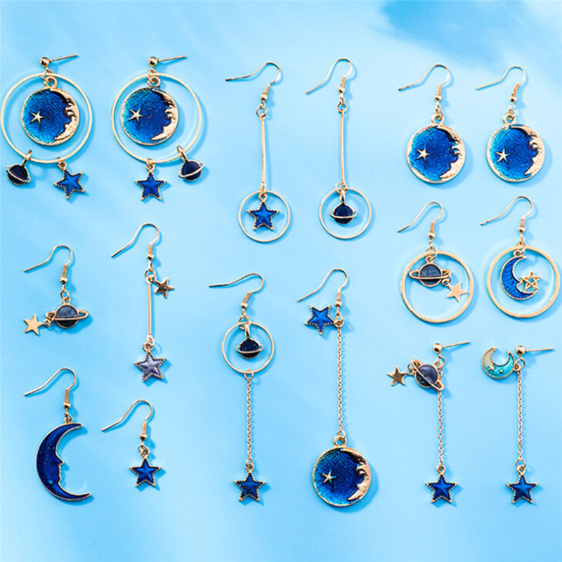 Space Universe Star Moon Planet Earrings For Women Korean Style Asymmetric Jewelry Girls Christmas Gifts 2018 Fashion