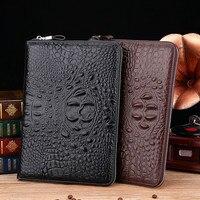 2019 Business Large Clutch Bag MoneyClip Wallet Men's Purses Real Genuine Leather Wallets Man Wristlet Handbag Long Male Purse