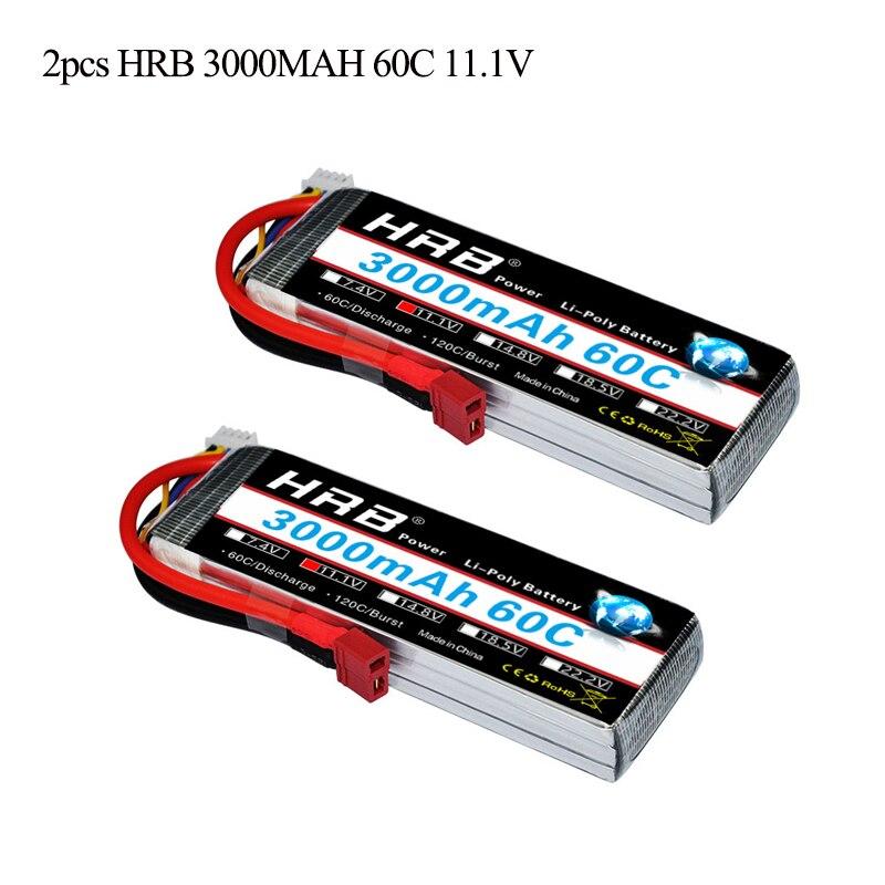2pcs HRB RC Lipo 3S Battery 11 1V 3000mah 60C MAX 120C Drone AKKU For RC