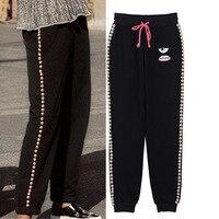 Новые зимние черный шнурок Штаны личность S повседневные штаны на жемчуг