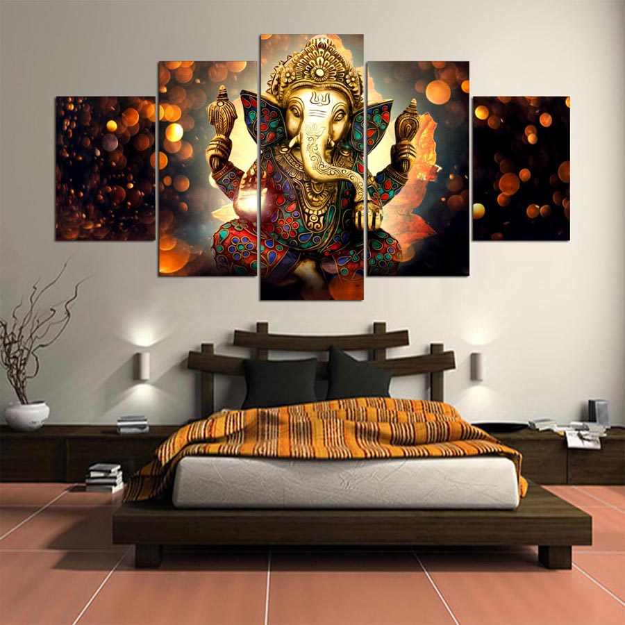 Hot Sales 5 Panel Modern Ganesh Elephant Trunk Indian God Hd Art Print Canvas Wall Paintings For Living Room Decor Unframed