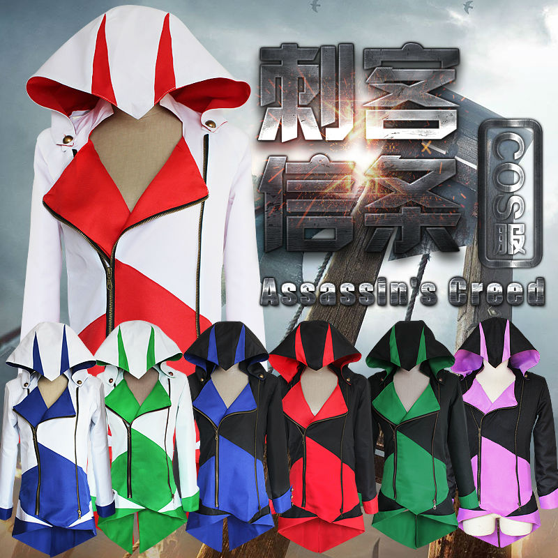 assassins creed 3 Altair Cosplay Costume Ezio cloak Connor Kenway Black Coat Jacket Halloween clothes