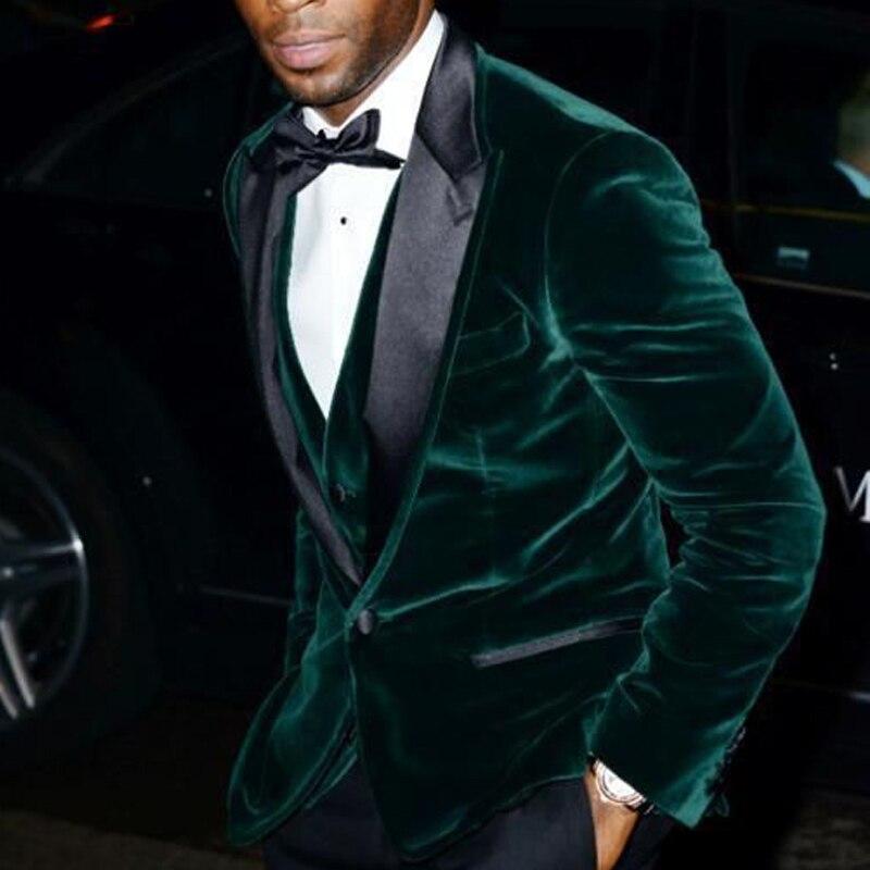 Velvet Slim Fit Men Suits For Prom 2019 Black Peaked Lapel Dark Green Blazer 3 Piece Groom Wedding Tuxedos Mens Stage Clothes
