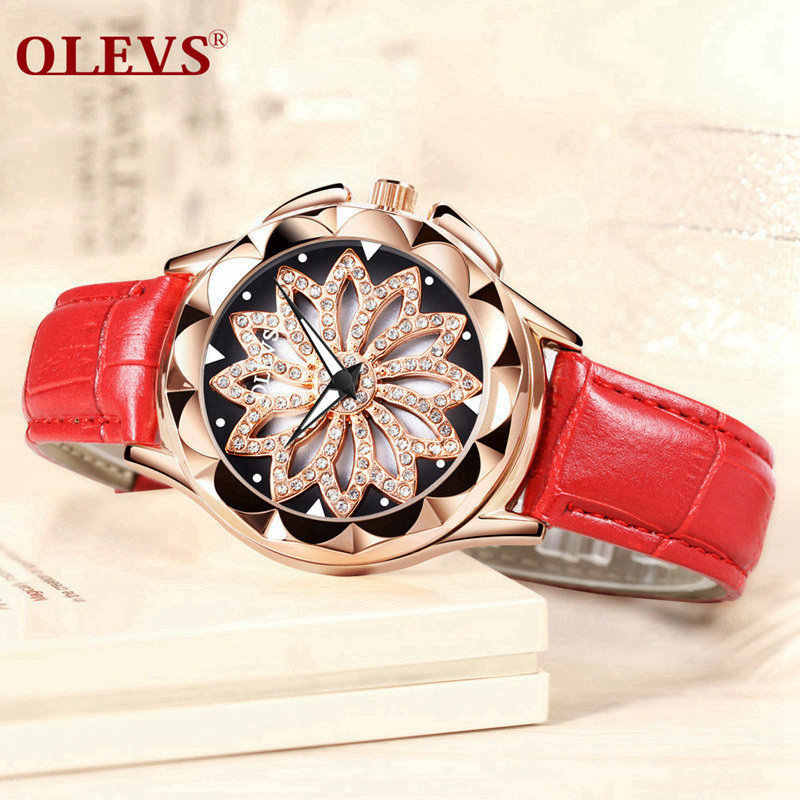 79819f7e376c OLEVS Роскошные Брендовые женские часы золотые выдалбливают красивый дизайн  ...