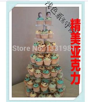 Wedding cake tier 7 round transparent acrylic cake shelf glass crystal cake wedding decoration acrylic cupcake stand