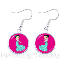 Pop BETTY BOOP Kaca Panjang Anting-Anting Wanita Perhiasan BETTY BOOP Yang Seksi 16 Mm Kaca Dome Anting-Anting Aksesoris Perhiasan Hadiah Natal(China)